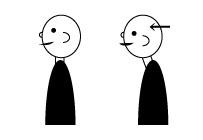 ①耳の穴が、肩の中心より前に出ている。
